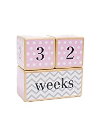 LovelySprouts Milestone Age Blocks | Solid Wood | Baby Age Photo Blocks | Perfect Baby Shower Gift | Choose From 3 Different Color Styles (Pink) BOBEBE Online Baby Store From New York to Miami and Los Angeles