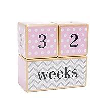 LovelySprouts Milestone Age Blocks | Solid Wood | Baby Age Photo Blocks | Per...