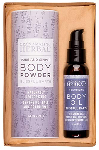 After Shower Body Oil and Natural Body Powder Aromatherapy Set in Blissful Earth with Lavender, Clary Sage, Vetiver Essential Oils No Talc Corn Grain Gluten Deodorant Dusting Powder Organic Herbal Oil