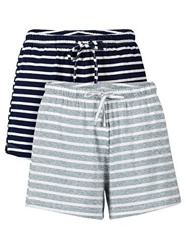 Cotton Pj Shorts (Genuwin Women's 2 Pack Soft Comfy Cotton Pajama Sleep Bottoms Lounge Shorts (S, Navy Blue+Heather Light Gray))