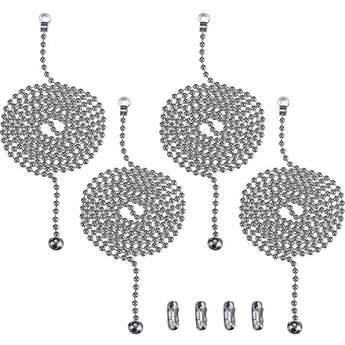 Hestya 1 Meter Length Stainless Steel Ball Pull Chain Extension with Connector for Ceiling Light Fan Chain, 4 Sets