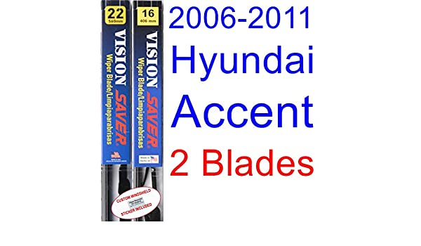 Amazon.com: 2006-2011 Hyundai Accent Replacement Wiper Blade Set/Kit (Set of 2 Blades) (Saver Automotive Products-Vision Saver) (2007,2008,2009,2010): ...