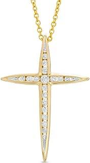 Silvostyle 0.33 Cts Sim Diamond Channel-Set Cross Pendant W/18 Chain in 14K Yellow Gold PL