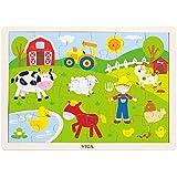 Viga - Puzzle des animaux de la ferme avec plateau - en bois - 24 pièces