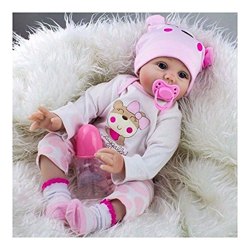 22'' Lifelike Newborn Babies Silicone Vinyl Reborn Baby Dolls Handmade Xmas Gift (Limbs 22' 3/4)