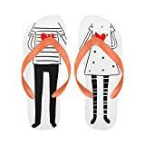 InterestPrint Non-Slip Flip Flop Slippers, Cute Doodle Couple Wedding Romantic Hearts Summer Beach Slim Thong Sandal Outdoor Casual Footwear