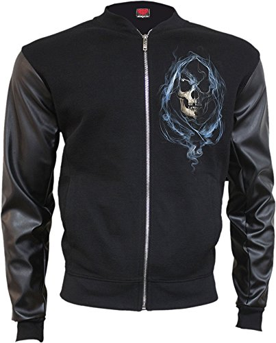 Spiral - Mens - GHOST REAPER - Bomber Jacket with PU Leather Sleeves - L