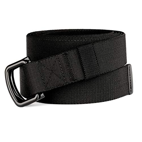 Drizzte 39'' Long Double Ring Mens Casual Elastic Fabric Belts Black
