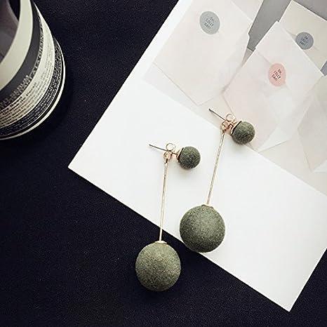 BAOZIV587 Aretes Cristal Moda Día Pearl sterling silver Ear en el oído-longitud, flores de tornillo del oído-su temperamento Colgante Pendientes niña, Opal # oreja de terciopelo verde de husillos de b