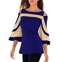 LuckyGirls® Femmes Tops Blouse Tee Shirts Femme,💋LuckyGirls T-Shirt à Manches Longues en Patchwork pour Femme 2XL