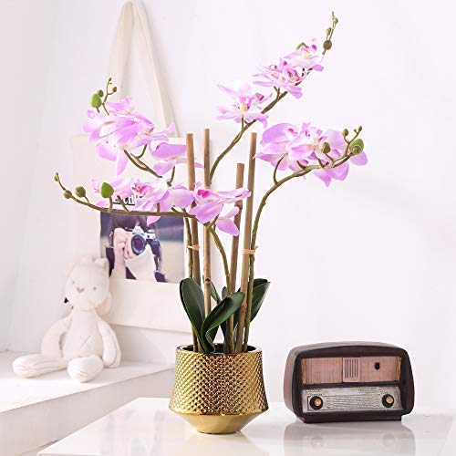 Large Artificial Orchid Phalaenopsis Arrangement Flower Bonsai with Golden Vase Table Centerpiece (Light Purple-2)