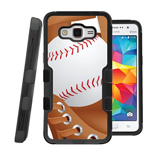 Grand Prime Case, CASECREATOR[TM] For Samsung Galaxy Grand Prime / G530H / G530F (Sprint, T-Mobile, Cricket) -- NATURAL TUFF Hybrid Rubber Hard Snap-on Case Black Black-Baseball and - Glove T-mobile