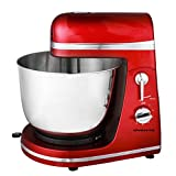 Ovente 3.7 Quart 6-Speed Professional Stand Mixer, 300 Watt, Metallic Red (SM880R)
