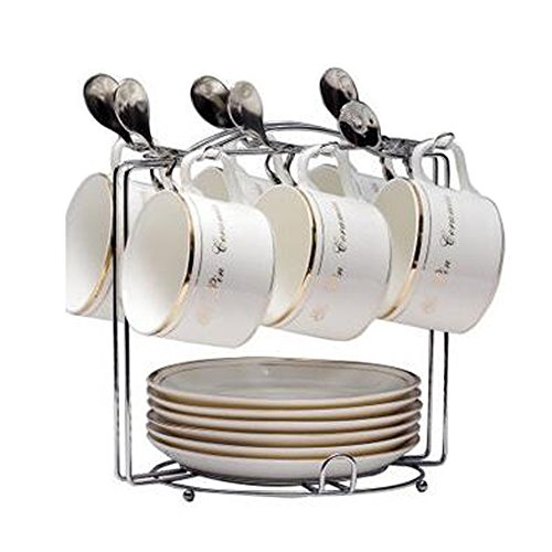 XHSP Stainless Steel Coffee Cup Holder Dish Rack Stand Organizer Drying Rack,Hold 6 Cups & 6 Dishes,Silver