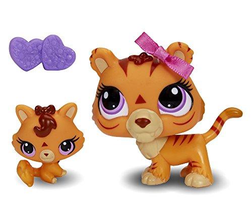 Littlest Pet Shop Figures Orange Tiger & Baby - Mommy Littlest Shop And Baby
