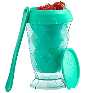 VonShef Slushie Maker Teal Slushy Snow Cone Cup with Spoon and Recipe Ideas Included