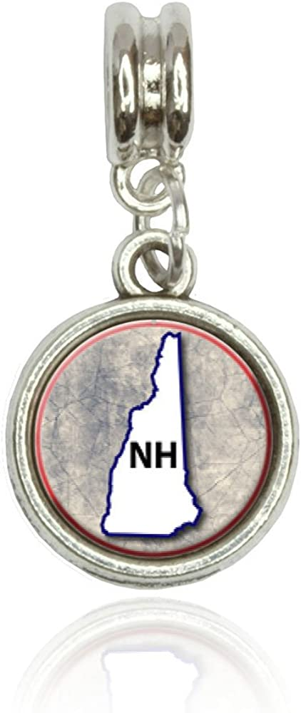 New Hampshire NH State Outline on Faded Blue Euro European Italian Style Bracelet Bead Charm