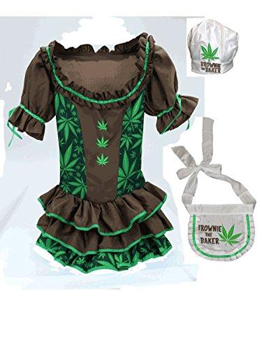 Baker Costume Brownie (Women's Marijuana Brownie The Baker Cannabis Costume)