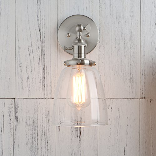 Permo Industrial Vintage Single Sconce With Oval Cone Clear Glass Shade 1-light Wall Sconce Wall Lamp (Brushed) by Permo (Image #3)