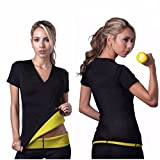 Slimming Neoprene Body Shaper Shirt - Sauna and Workout Tshirt - Wetsuit Womens Slimmer - Gym Top for Weight loss