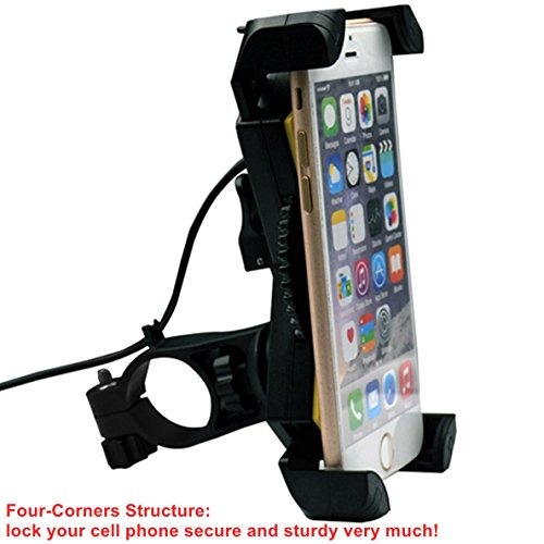 Motorcycle Phone Mount with USB Charger Port,DHYSTAR Electric Bike Motorcycle Cell phone Holder Stand Bracket Fits for iPhone/Samsung Galaxy Mobile Smartphones,GPS,Adjustable Clamp,on Handlebar/Mirror by DHYSTAR (Image #4)
