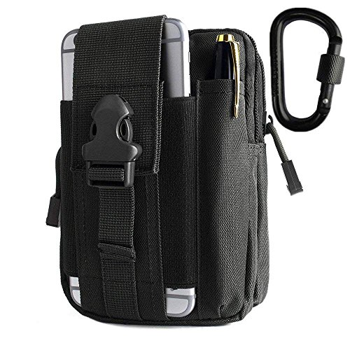BeGrit Universal Mehrzweck Kapazität Oversize EDC Tasche Tactical Beutel Smartphone Holster Security Pack Carry Accessory Kit Tasche Gürtel Schlaufen Tasche Gadget Geld aus, Pocket schwarz schwarz