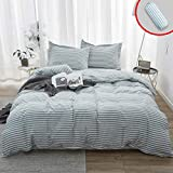 Cal King Duvet Cover Vailge 3-Piece 100% Washed Cotton Duvet Cover, Ultra Soft Striped Duvet Cover Set, Breathable Duvet Cover with Zipper Closure, Easy Care Bedding Sets (Cal-King, Pinstripe-Grey)
