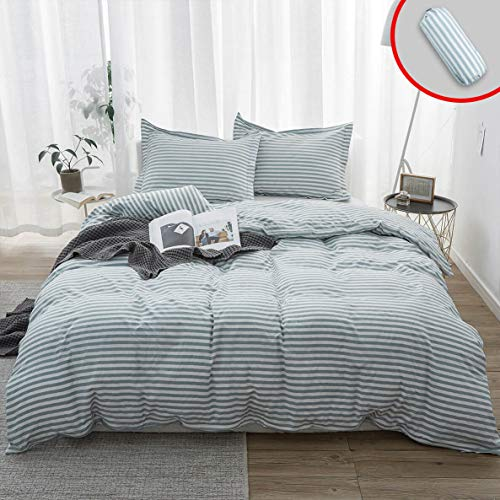 - Vailge 3-Piece 100% Washed Cotton Duvet Cover, Ultra Soft Striped Duvet Cover Set, Breathable Duvet Cover with Zipper Closure, Easy Care Bedding Sets (Cal-King, Pinstripe-Grey)