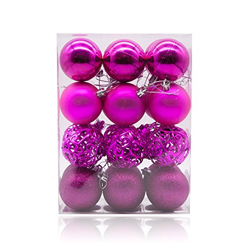 AMS Christmas Ball Pierced Trees Pendant Shatterproof Ball Ornament Seasonal Decorations Ideal for Xmas, Holiday and Party Widgets 60mm/ 2.36