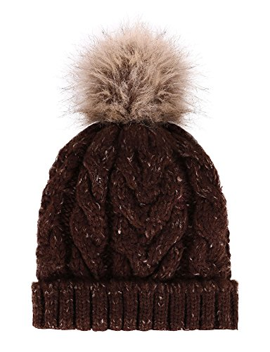 Livingston Womens Winter Soft Knitted Beanie Hat with Faux Fur Pom Pom