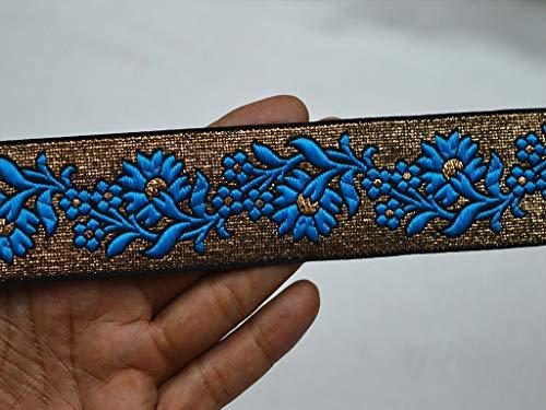 Wholesale Turquoise Blue Brocade Jacquard Ribbon Indian Trim Metallic Saree Border Jacquard Trim by 9 Yard Crafting Sewing Costume Lace