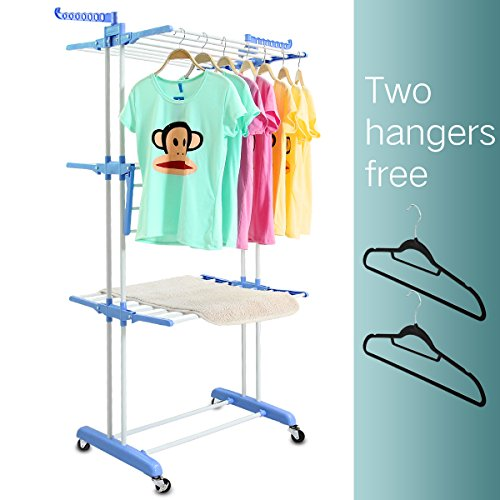 3 Tier Rolling Clothes Drying Rack Clothes Garment Rack Laundry Rack with Foldable Wings Shape Indoor/Outdoor Standing rack Stainless Steel Hanging Rods - Blue & Electroplate by Mogi's