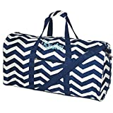Personalized Navy Blue Chevron Duffle Bag 21 Inch