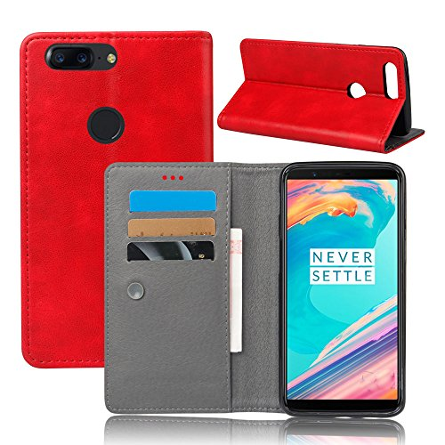 AICEDA OnePlus 5T - Protective Durable Protective Case Women Leather Case/Cover/Bumper/Skin/Cushion - Fashion Art Collection (Red) -