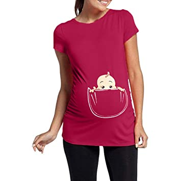 a7e0931581a5a Women's Maternity T Shirt Cute Funny Baby Peeking Print Tee Ruched Side Pregnancy  Tops (Hot