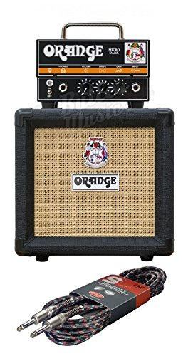 Hybrid Guitar Amps (Orange Micro Dark Mini Valve Hybrid Head + PPC108 Black Cabinet Combo Mini Stack)
