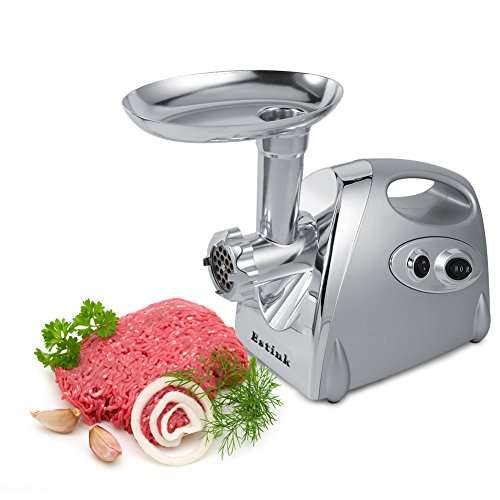 Electric Meat Grinder, 800W Stainless Steel Industrial Meat Grinder Sausage Maker Machine,3 Cutting Blades,Silver