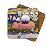 On The Pigs Back Coaster by Thomas Joseph - Funny Sheep by Thomas Joseph