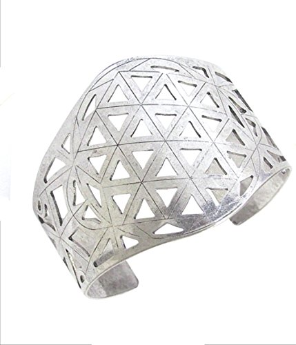 (Wildflower Extra Wide Distressed Silver-Tone Cut Out Open Work Primitive Look Boho Style Cuff Bracelet, 2