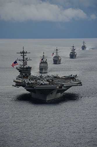 (Laminated Poster Atlantic Ocean (Sept. 23, 2014) The Aircraft Carrier USS Theodore Roosevelt (CVN 71) Leads a Forma Vivid Imagery Poster Print 24 x 36)