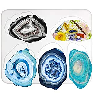 Agate Coaster Silicone Resin Mould, 5-Cavity 2.8-5.2inch