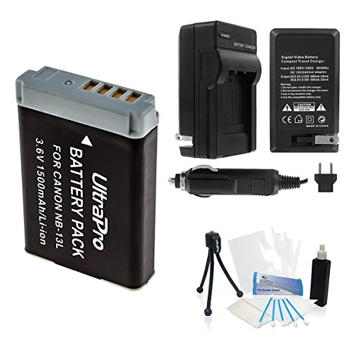 NB-13L High-Capacity Replacement Battery with Rapid Travel Charger for Canon PowerShot G5x, G7x, G9x Digital Cameras - UltraPro Accessory Bundle Included