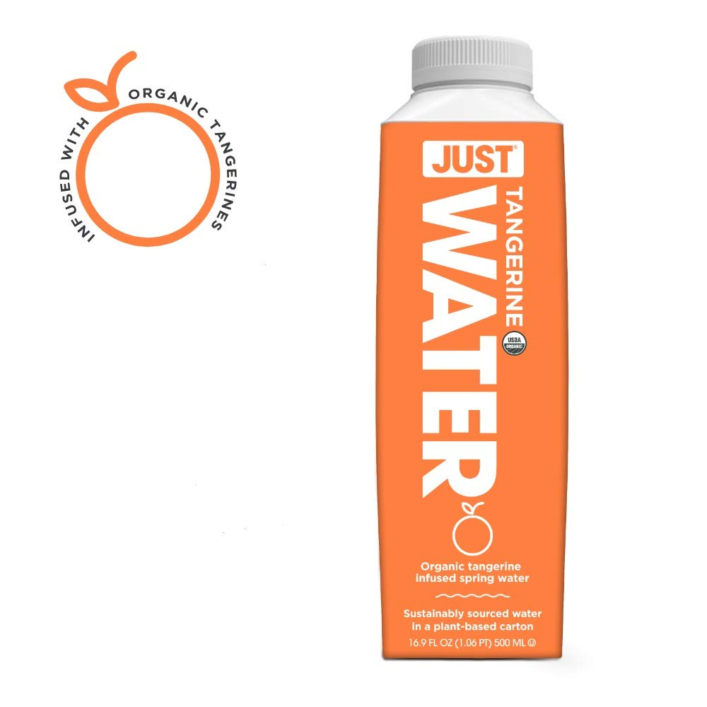 JUST Water Infused   Organic Fruit Flavored Spring Water   Eco-Friendly Boxed Bottled Water   Zero Sugar, Artificial Flavors, or Sweeteners, 8.0 Alkaline pH   Tangerine, 16.9 fl oz (Pack of 12)