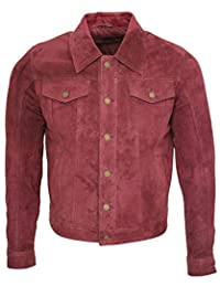 Men's Trucker Casual Burgundy Goat Suede Leather Shirt Jeans Jacke