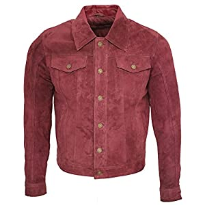 Infinity Men's Trucker Casual Burgundy Goat Suede Leather Shirt Jeans Jacke