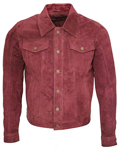 Infinity Men's Trucker Casual Burgundy Goat Suede Leather Shirt Jeans Jacket XL