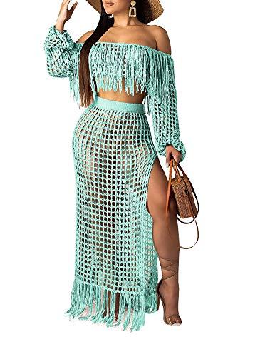 Ophestin Women Off Shoulder Long Sleeve See Through Lace Crop Top Tassel Split Two-Piece Maxi Long Skirts Dress Set Green S (Lace Crop Top And Maxi Skirt Set)