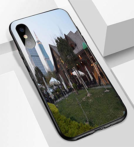 (iPhone X/XS Ultra-Thin Glass Back Phone case,Big Bamboo bar and Restaurant and King Tower Jinqiao Pudong District Shanghai China Soft and Easy to Protect The Protective case)