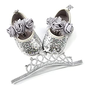 Minuya Newborn Baby Girl's Anti Slip Comfort Sole Mary Jane Flat First Walking Shoes with Hair Band