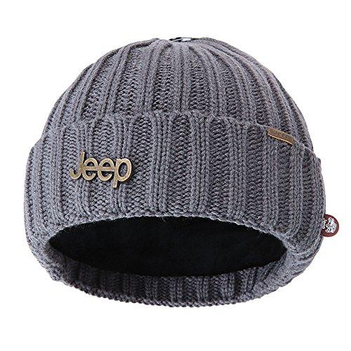 Jeep Warm Thick Knit Beanie Skull Cap with Fleece Inside Beanie Hat for Men & Women Winter Knit Hat